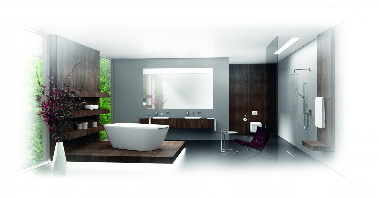 Moderní koupelna s volně stojící vanou