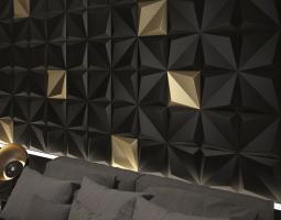 3D obklady použité na stěně v ložnici