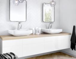 Moderně řešená stěna koupelny