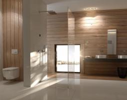 Decentní koupelna v přírodních barvách