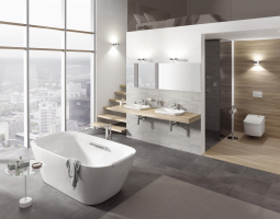 Nadčasová koupelna s volně stojící vano