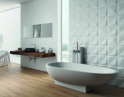 3D obklady v koupelně působí originálně