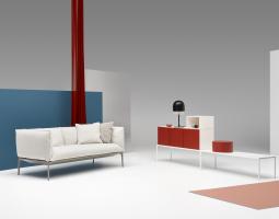 Originální sedací souprava se stylovou obývací stěnou