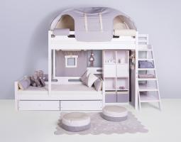 Palanda pro dvě děti s výsuvným lůžkem s praktickým úložným prostorem